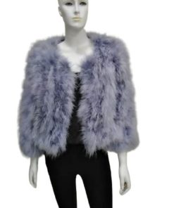 Winter Short Jacket Real Ostrich Feather Fur Multicolor