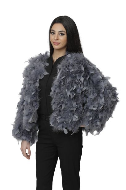 Winter Short Jacket Real Fluffy Ostrich Feather Fur