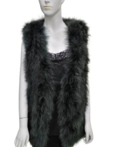 Real Ostrich Feather Fur Vest Waistcoat Sleeveless Jacket