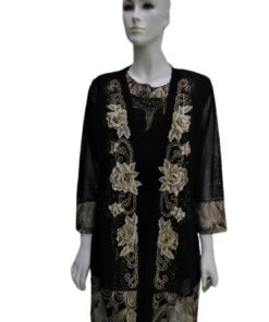 Women 2 Pieces Set - Top and Long Cardigan Cover up with Flower Gold Design