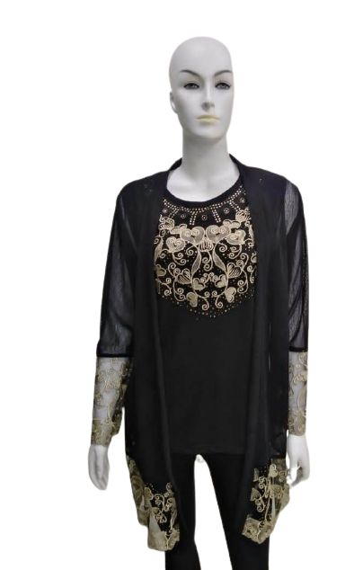 Women 2 Pieces Set - Top and Long Cardigan Cover up with Gold Flower Design