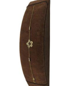 18K Yellow Gold Charm Women's Bracelet with Flower Design