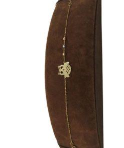 18K Yellow Gold Charm Women's Bracelet With Owl Design