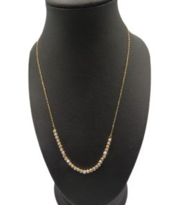 18K Yellow Gold Women's Necklace With Yellow - Gold And Rose Cultured Pearls