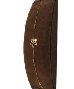 18K Yellow Gold Simple Women's Bracelet with Flower Design
