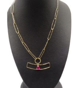18k Yellow Gold Women's Necklace Paperclip Elongated Link Chain With Pink Stone In The Middle