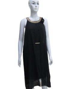 Round Neck With Open Tulle Sleeveless Black Dress