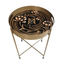 Floral Design Hand Painted on Wood Round Foldable Table Top With Metal Base