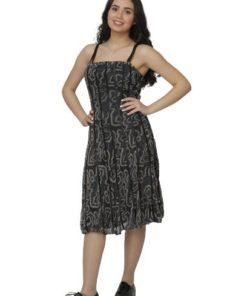 Pleated Animal Printed Midi Dress