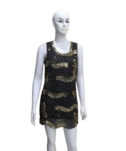 Beaded Blouson Mini Dress with Flower Design