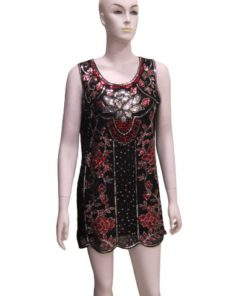 Beaded Blouson Mini Dress with Red and Silver Design