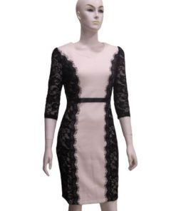 Women's Mid Length Dress With Lace Sides and sleeves