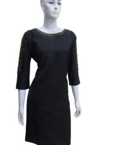 Women's Chic Wide Round Neck Dress With Sleeves & Neckline Beaded Detail