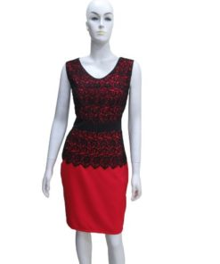 Women's Classic Sleeveless Lace Contrast Dress