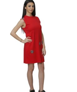 Women's Sleeveless Red Dress With Beads Design