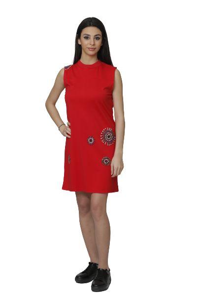 Women's Sleeveless Red Dress With Beads Design