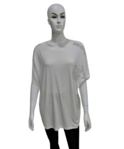 White T-Shirt with Silver Design