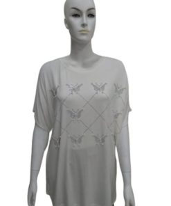 T-Shirt with Silver Butterfly and Pearl Design