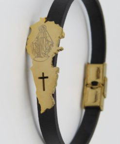 Lebanon Map Virgin Mary Image Black Leather Bracelet