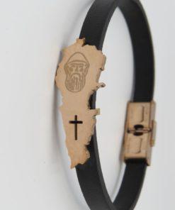 Lebanon Map St. Charbel Image Black Leather Bracelet