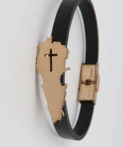 Lebanon Map Religious Black Leather Bracelet