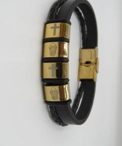 Cross & St. Charbel Image Double Black Leather Stainless Steel Bracelet