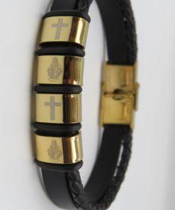 Cross & Virgin Mary Image Double Black Leather Stainless Steel Bracelet