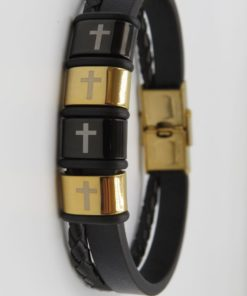Cross Image Double Black Leather Stainless Steel Bracelet