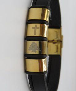 Cross & Cedar Tree Image Double Black Leather Stainless Steel Bracelet