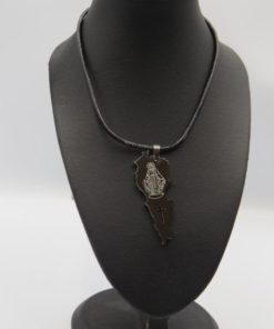 Cross Carved Lebanon Map With Virgin Mary Image Stainless Steel Pendant Necklace
