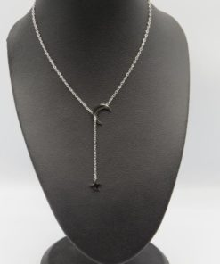 Crescent Moon & Star Stainless Steel Necklace