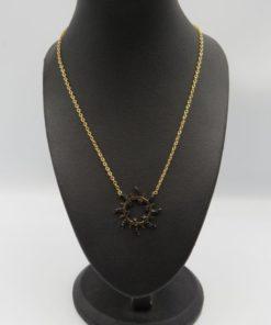Black Strass Sunburst Pendant Stainless Steel Necklace