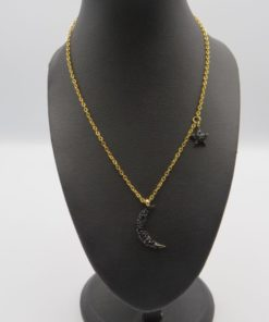 Black Strass Crescent Moon and Star Pendant Stainless Steel Necklace
