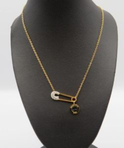 Safety Pin & Button Pendant Stainless Steel Necklace