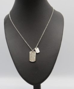 Tag with Strass Pendant Stainless Steel Necklace