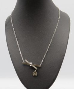 Cross X Double Bar Pendant Stainless Steel Necklace