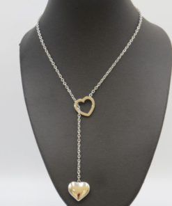 Double Heart Dangle Stainless Steel Necklace