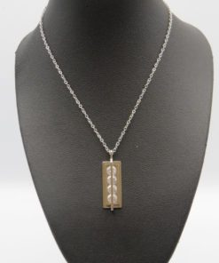 Stone Bar Drop Pendant Stainless Steel Necklace