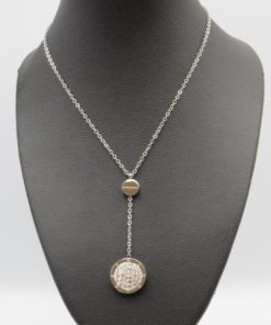 Stainless Steel Round Circle Disc Geometric Lariat Pendant Y Necklace