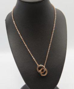 Interlocking Circle Pendant Stainless Steel Necklace