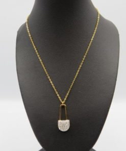 Safety Pin With Silver Strass Stainless Steel Necklace