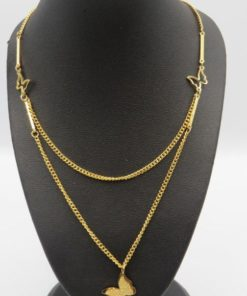 Butterfly Double Chain Stainless Steel Necklace