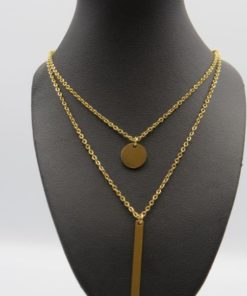 Disk & Vertical Bar Double Chain Stainless Steel Necklace