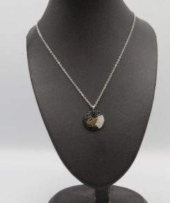 Swan with Black & Silver Strass Pendant Stainless Steel Necklace