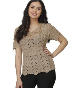 Women's Short Sleeves Crochet Top