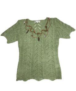 Women's Short Sleeves Crochet Top