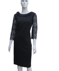 Women's Classic Wide Round Neck Black Dress