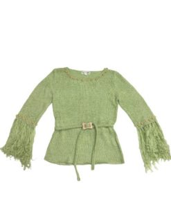 Women's Knit Round Neck Top With Fringed Sleeves
