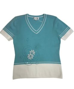 Women's V-Neck Short Sleeves Blouse with Flower Design