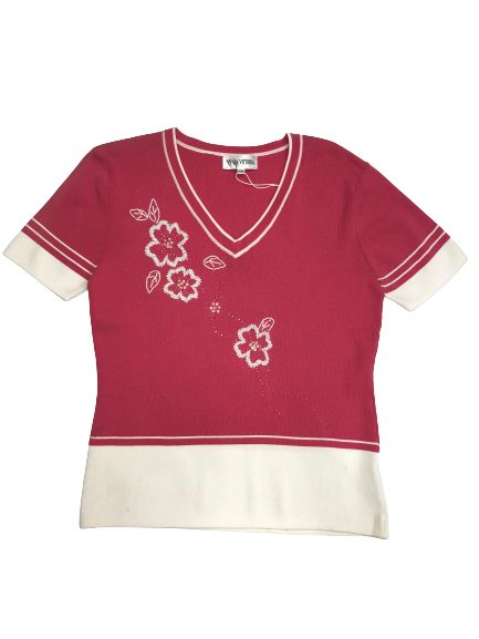 Women's V-Neck Dual Color Short Sleeves Top With Flower Detail